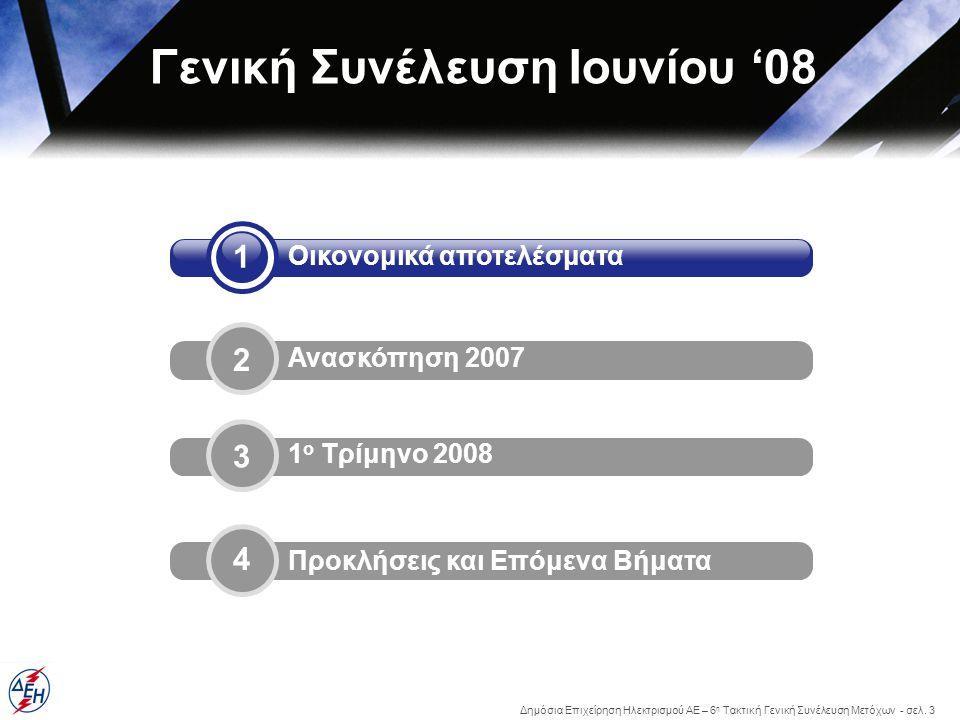 Δημόσια Επιχείρηση Ηλεκτρισμού ΑΕ – 6 η Τακτική Γενική Συνέλευση Μετόχων - σελ. 3 4 1 Οικονομικά αποτελέσματα 2 Ανασκόπηση 2007 Προκλήσεις και Επόμενα