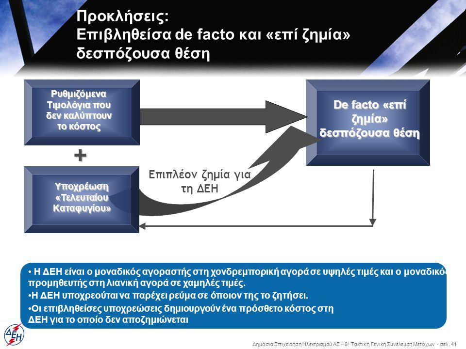 Δημόσια Επιχείρηση Ηλεκτρισμού ΑΕ – 6 η Τακτική Γενική Συνέλευση Μετόχων - σελ. 41 Προκλήσεις: Επιβληθείσα de facto και «επί ζημία» δεσπόζουσα θέση Ρυ