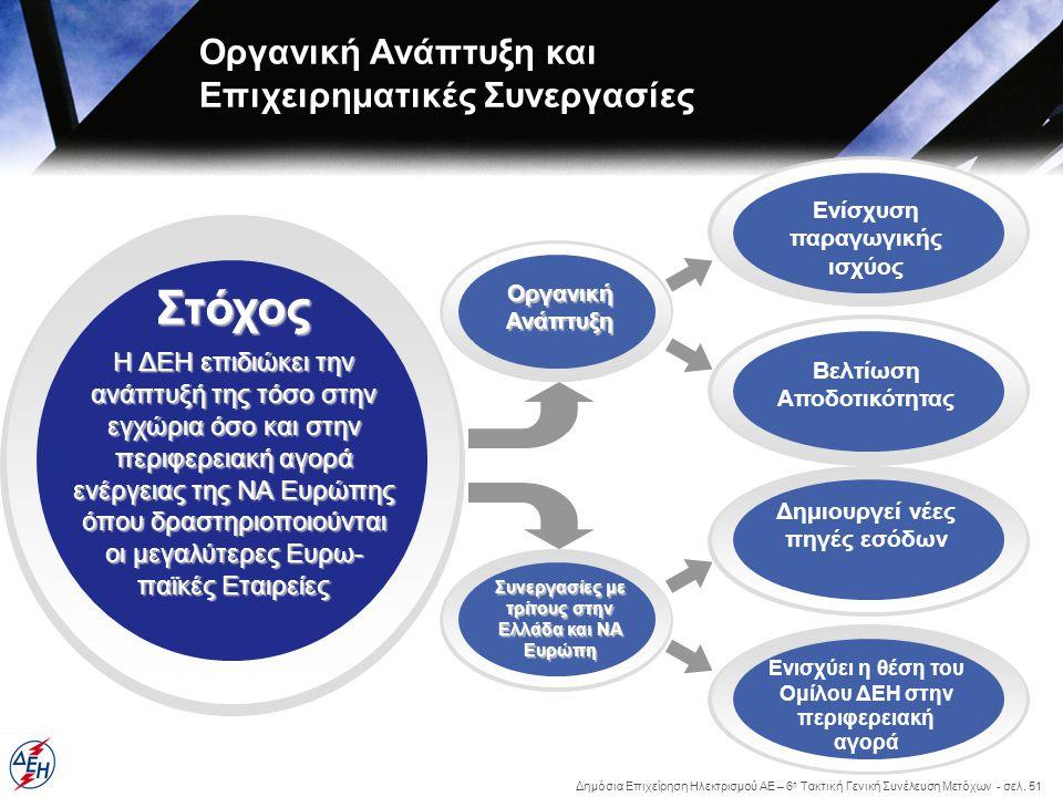 Δημόσια Επιχείρηση Ηλεκτρισμού ΑΕ – 6 η Τακτική Γενική Συνέλευση Μετόχων - σελ. 51 Στόχος Οργανική Ανάπτυξη και Επιχειρηματικές Συνεργασίες Η ΔΕΗ επιδ