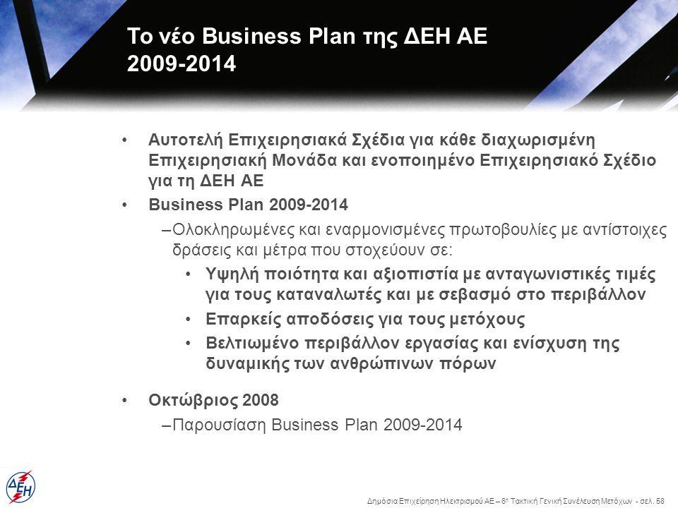 Δημόσια Επιχείρηση Ηλεκτρισμού ΑΕ – 6 η Τακτική Γενική Συνέλευση Μετόχων - σελ. 58 •Αυτοτελή Επιχειρησιακά Σχέδια για κάθε διαχωρισμένη Επιχειρησιακή