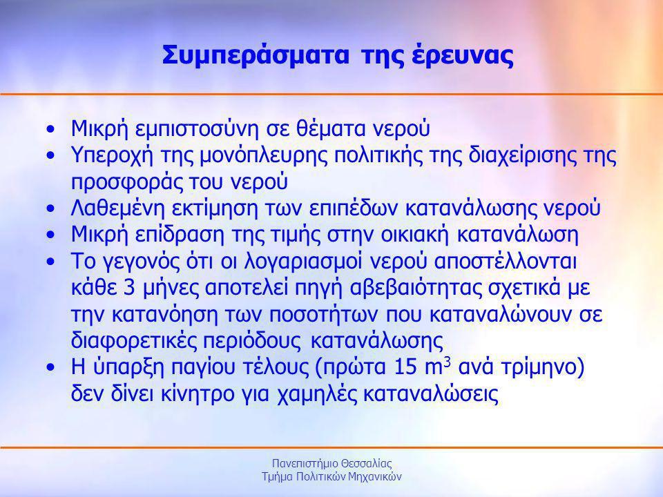 Πανεπιστήμιο Θεσσαλίας Τμήμα Πολιτικών Μηχανικών •Μικρή εμπιστοσύνη σε θέματα νερού •Υπεροχή της μονόπλευρης πολιτικής της διαχείρισης της προσφοράς τ