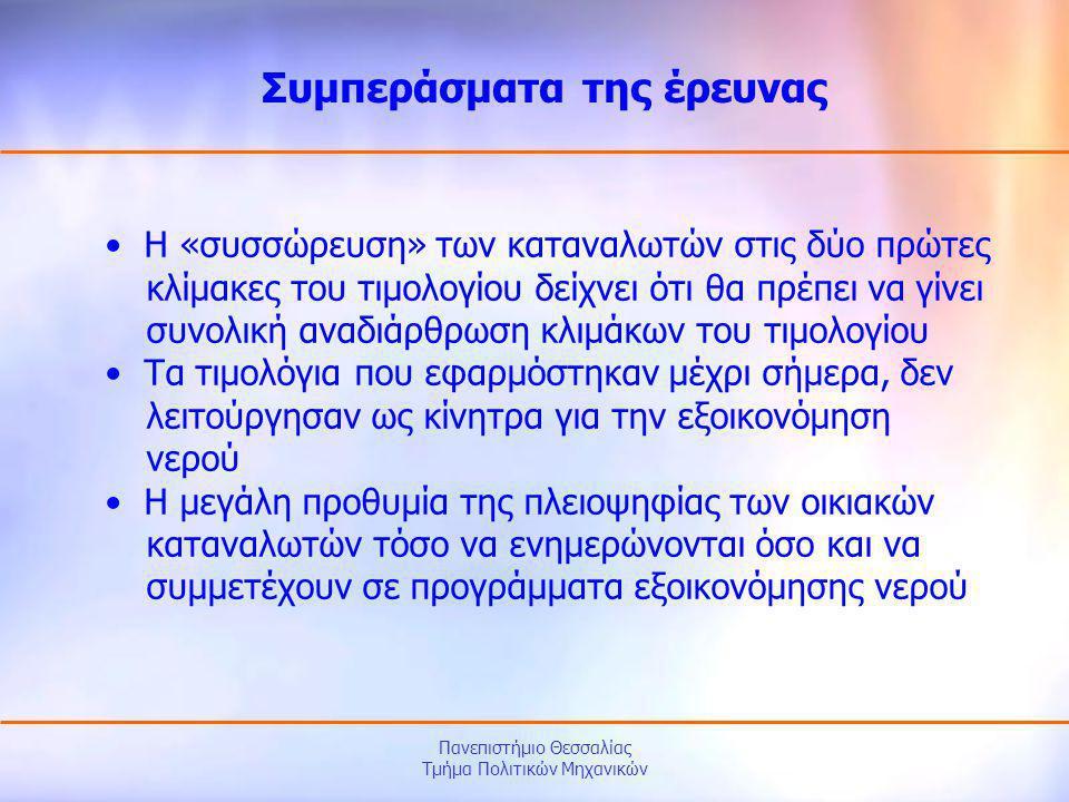 Πανεπιστήμιο Θεσσαλίας Τμήμα Πολιτικών Μηχανικών • Η «συσσώρευση» των καταναλωτών στις δύο πρώτες κλίμακες του τιμολογίου δείχνει ότι θα πρέπει να γίν