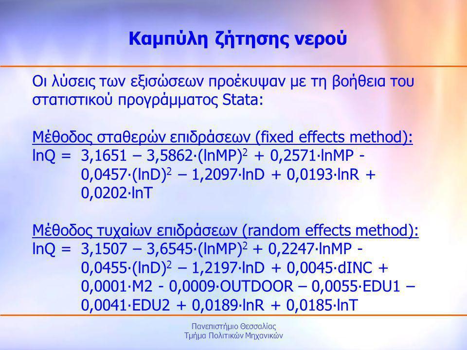 Πανεπιστήμιο Θεσσαλίας Τμήμα Πολιτικών Μηχανικών Οι λύσεις των εξισώσεων προέκυψαν με τη βοήθεια του στατιστικού προγράμματος Stata: Μέθοδος σταθερών