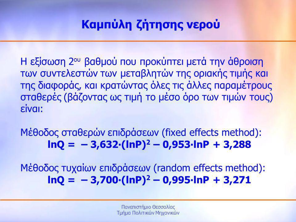 Πανεπιστήμιο Θεσσαλίας Τμήμα Πολιτικών Μηχανικών Η εξίσωση 2 ου βαθμού που προκύπτει μετά την άθροιση των συντελεστών των μεταβλητών της οριακής τιμής
