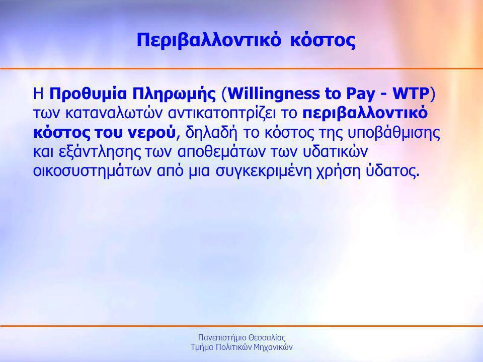 Πανεπιστήμιο Θεσσαλίας Τμήμα Πολιτικών Μηχανικών Η Προθυμία Πληρωμής (Willingness to Pay - WTP) των καταναλωτών αντικατοπτρίζει το περιβαλλοντικό κόστ