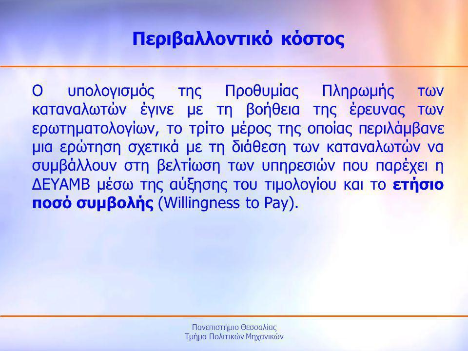Πανεπιστήμιο Θεσσαλίας Τμήμα Πολιτικών Μηχανικών Ο υπολογισμός της Προθυμίας Πληρωμής των καταναλωτών έγινε με τη βοήθεια της έρευνας των ερωτηματολογ