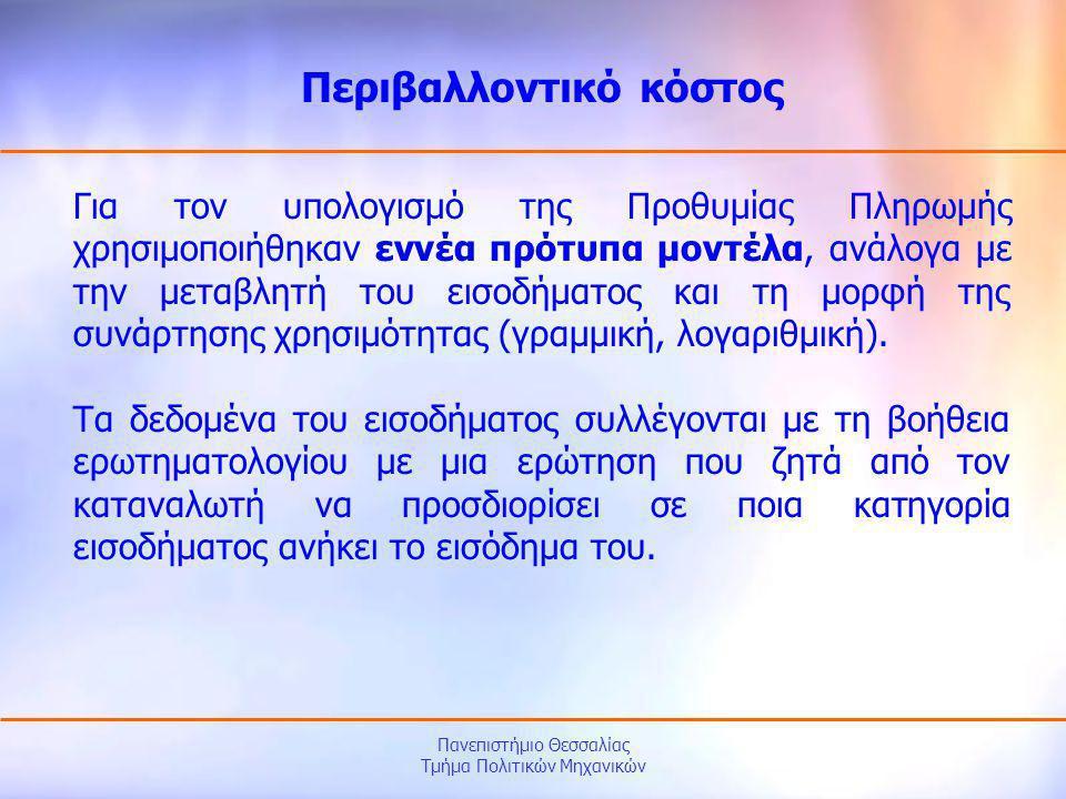 Πανεπιστήμιο Θεσσαλίας Τμήμα Πολιτικών Μηχανικών Για τον υπολογισμό της Προθυμίας Πληρωμής χρησιμοποιήθηκαν εννέα πρότυπα μοντέλα, ανάλογα με την μετα