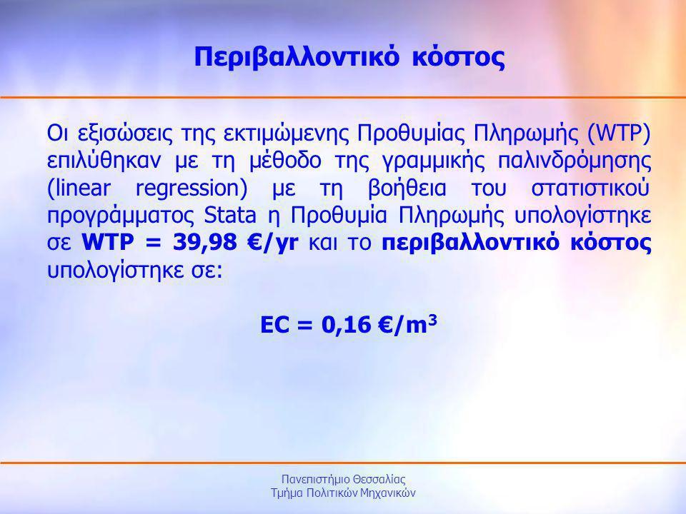 Πανεπιστήμιο Θεσσαλίας Τμήμα Πολιτικών Μηχανικών Οι εξισώσεις της εκτιμώμενης Προθυμίας Πληρωμής (WTP) επιλύθηκαν με τη μέθοδο της γραμμικής παλινδρόμ