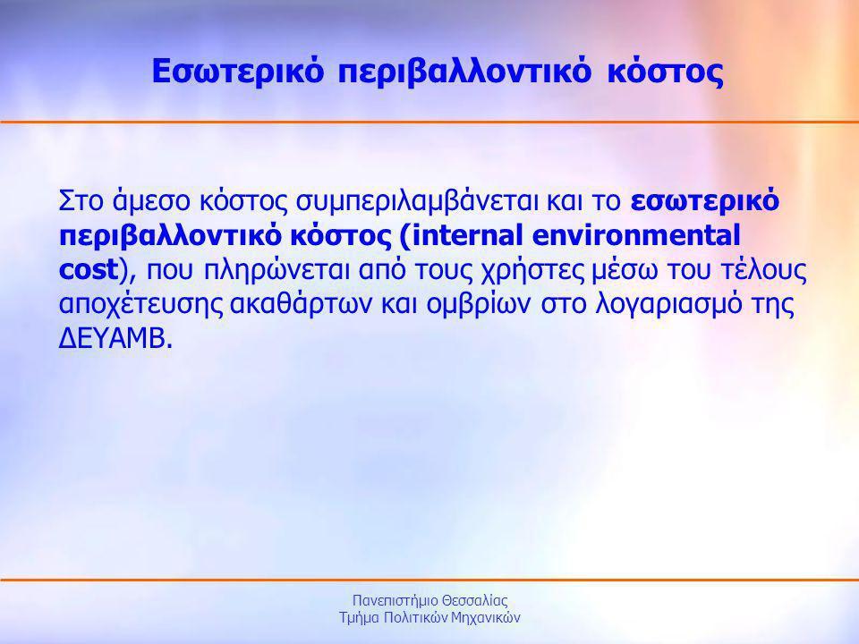 Πανεπιστήμιο Θεσσαλίας Τμήμα Πολιτικών Μηχανικών Στο άμεσο κόστος συμπεριλαμβάνεται και το εσωτερικό περιβαλλοντικό κόστος (internal environmental cos