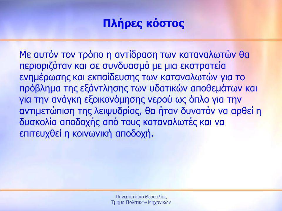 Πανεπιστήμιο Θεσσαλίας Τμήμα Πολιτικών Μηχανικών Με αυτόν τον τρόπο η αντίδραση των καταναλωτών θα περιοριζόταν και σε συνδυασμό με μια εκστρατεία ενη