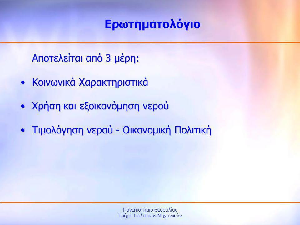 Πανεπιστήμιο Θεσσαλίας Τμήμα Πολιτικών Μηχανικών Αποτελείται από 3 μέρη: •Κοινωνικά Χαρακτηριστικά •Χρήση και εξοικονόμηση νερού •Τιμολόγηση νερού - Ο