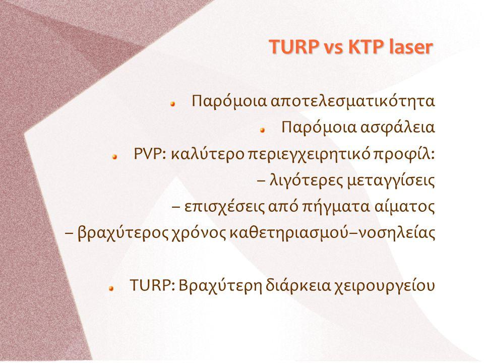 TURP vs KTP laser Παρόμοια αποτελεσματικότητα Παρόμοια ασφάλεια PVP: καλύτερο περιεγχειρητικό προφίλ: – λιγότερες μεταγγίσεις – επισχέσεις από πήγματα