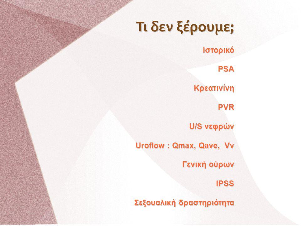 ΙστορικόPSAΚρεατινίνηPVR U/S νεφρών Uroflow : Qmax, Qave, Vv Γενική ούρων IPSS Σεξουαλική δραστηριότητα Τι δεν ξέρουμε;