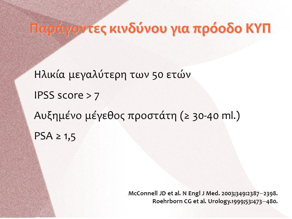 Παράγοντες κινδύνου για πρόοδο ΚΥΠ Ηλικία μεγαλύτερη των 50 ετών IPSS score > 7 Αυξημένο μέγεθος προστάτη (≥ 30-40 ml.) PSA ≥ 1,5 McConnell JD et al.