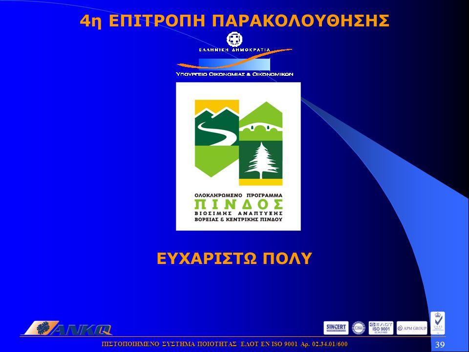 39 ΠΙΣΤΟΠΟΙΗΜΕΝΟ ΣΥΣΤΗΜΑ ΠΟΙΟΤΗΤΑΣ ΕΛΟΤ ΕΝ ISO 9001 Αρ. 02.34.01/600 4η ΕΠΙΤΡΟΠΗ ΠΑΡΑΚΟΛΟΥΘΗΣΗΣ ΕΥΧΑΡΙΣΤΩ ΠΟΛΥ