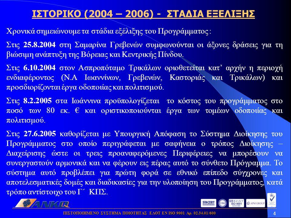 4 ΠΙΣΤΟΠΟΙΗΜΕΝΟ ΣΥΣΤΗΜΑ ΠΟΙΟΤΗΤΑΣ ΕΛΟΤ ΕΝ ISO 9001 Αρ. 02.34.01/600 Χρονικά σημειώνουμε τα στάδια εξέλιξης του Προγράμματος : Στις 25.8.2004 στη Σαμαρ