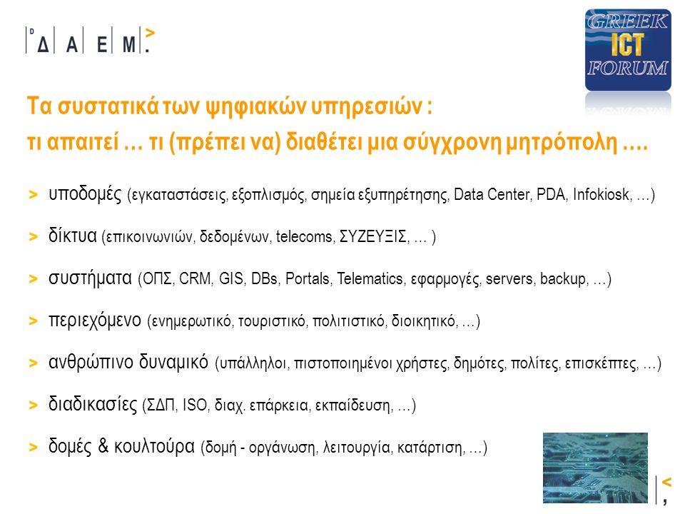Σύγχρονες Ψηφιακές Υπηρεσίες: η εμπειρία του Δήμου Αθηναίων Ο Δ.Αθηναίων, με την υποστήριξη της ΔΑΕΜ, αναπτύσσει σύγχρονες ψηφιακές - μητροπολιτικές υπηρεσίες με βάση : > τις υποδομές και τα συστήματα Δ.Α.
