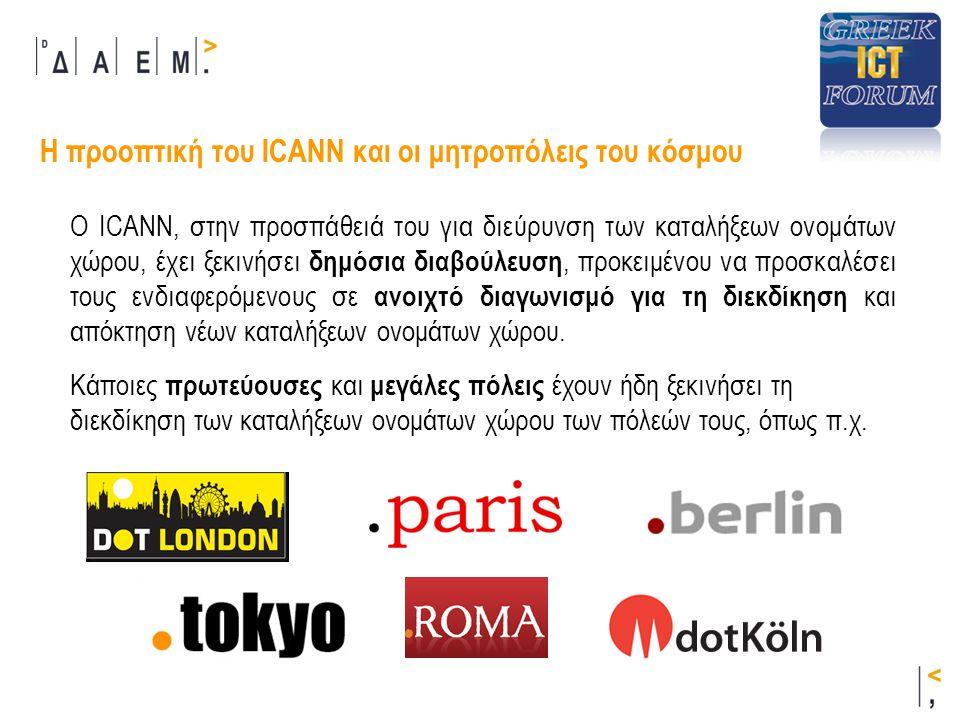 Η προοπτική του ICANN και οι μητροπόλεις του κόσμου Κάποιες πρωτεύουσες και μεγάλες πόλεις έχουν ήδη ξεκινήσει τη διεκδίκηση των καταλήξεων ονομάτων χώρου των πόλεών τους, όπως π.χ.