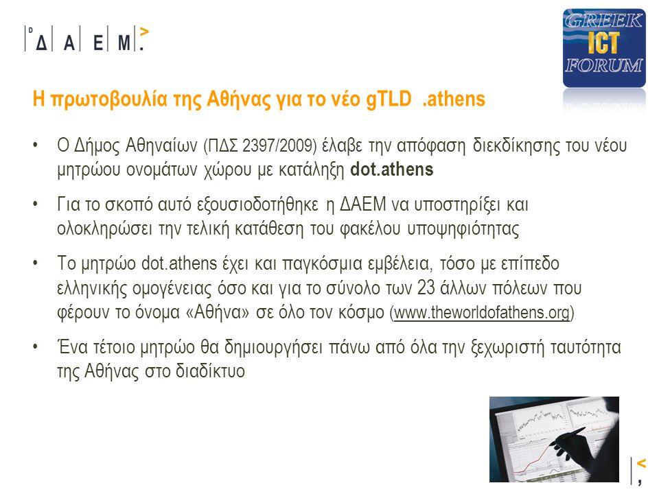 Με τη νέα ταυτότητα dot.athens ο Δήμος Αθηναίων θα έχει :  συγκεκριμένη παρουσία και προβολή στο διαδίκτυο  καλύτερη προβολή της πολιτιστικής κληρονομιάς  τουριστική και οικονομική ανάπτυξη  βελτιωμένη παροχή υπηρεσιών προς : •Δημότες •Πολίτες •Επισκέπτες •Επιχειρήσεις Η πρωτοβουλία της Αθήνας για το νέο gTLD.athens