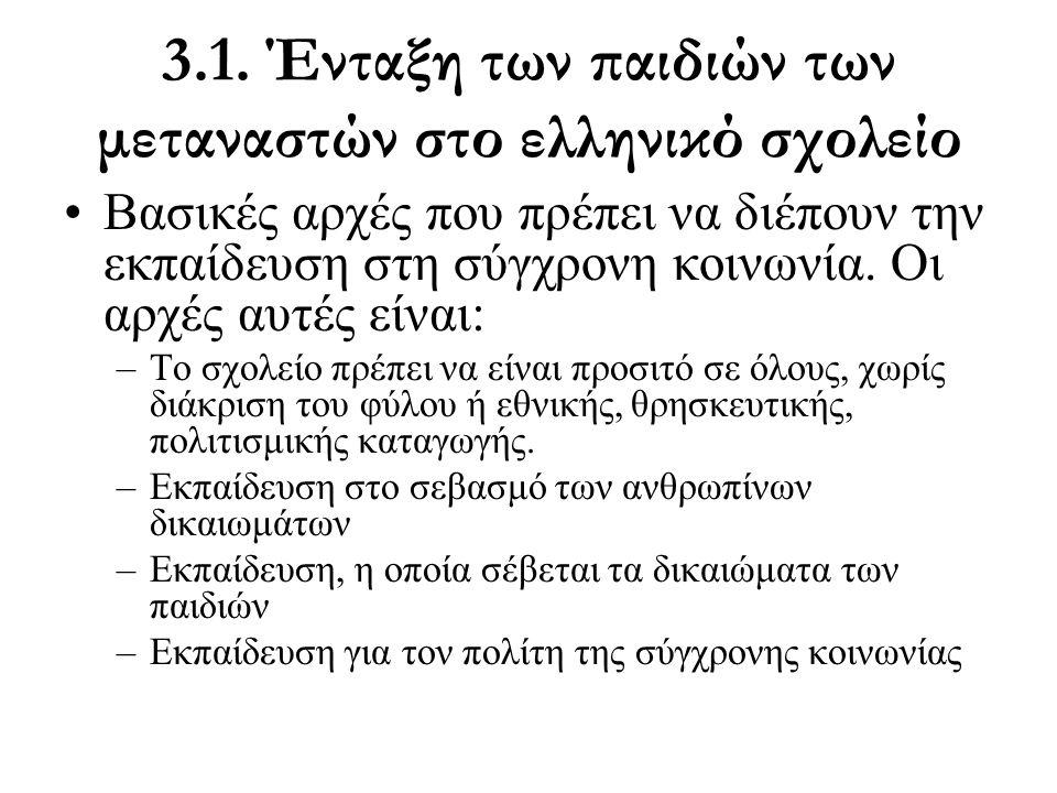 3.1. Ένταξη των παιδιών των μεταναστών στο ελληνικό σχολείο •Βασικές αρχές που πρέπει να διέπουν την εκπαίδευση στη σύγχρονη κοινωνία. Οι αρχές αυτές