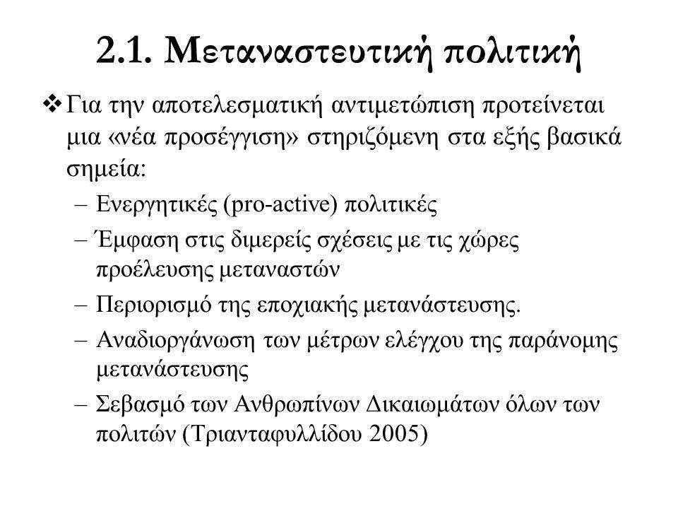 2.1. Μεταναστευτική πολιτική  Για την αποτελεσματική αντιμετώπιση προτείνεται μια «νέα προσέγγιση» στηριζόμενη στα εξής βασικά σημεία: –Ενεργητικές (