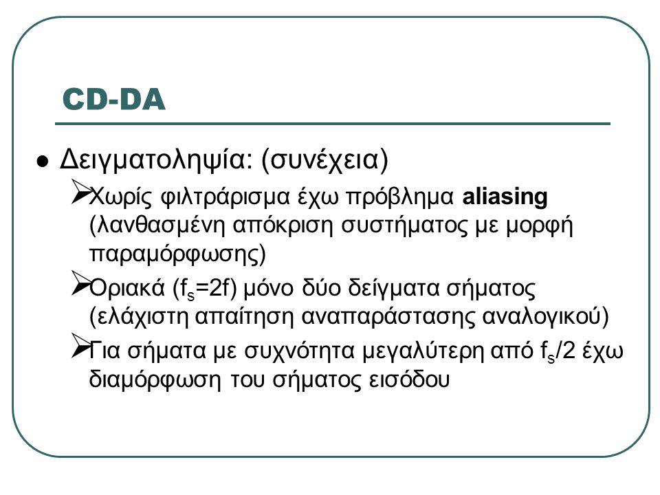 CD-DA  Δειγματοληψία: (συνέχεια)  Χωρίς φιλτράρισμα έχω πρόβλημα aliasing (λανθασμένη απόκριση συστήματος με μορφή παραμόρφωσης)  Οριακά (f s =2f)