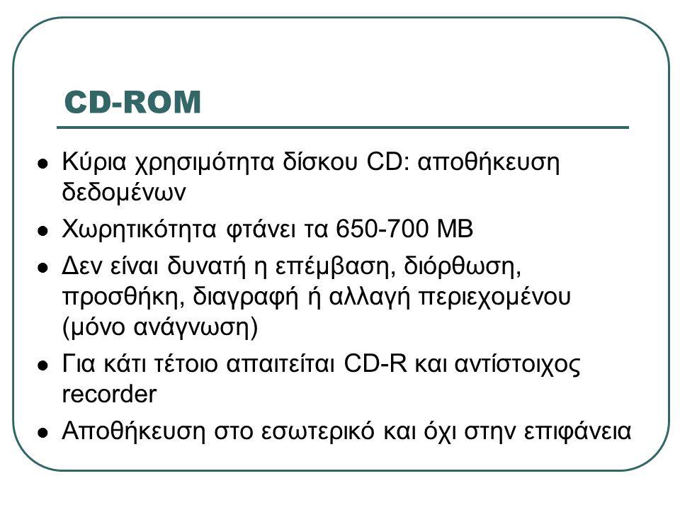 CD-ROM  Κύρια χρησιμότητα δίσκου CD: αποθήκευση δεδομένων  Χωρητικότητα φτάνει τα 650-700 ΜΒ  Δεν είναι δυνατή η επέμβαση, διόρθωση, προσθήκη, διαγ