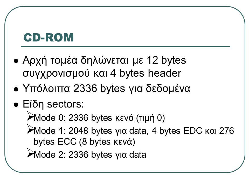 CD-ROM  Αρχή τομέα δηλώνεται με 12 bytes συγχρονισμού και 4 bytes header  Υπόλοιπα 2336 bytes για δεδομένα  Είδη sectors:  Mode 0: 2336 bytes κενά