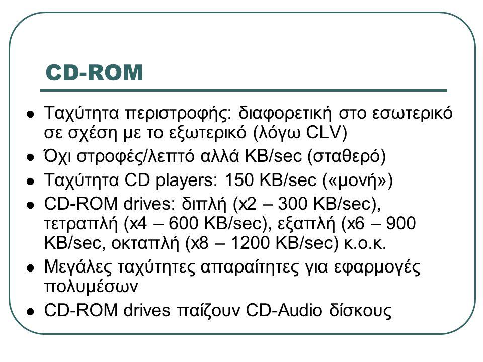 CD-ROM  Ταχύτητα περιστροφής: διαφορετική στο εσωτερικό σε σχέση με το εξωτερικό (λόγω CLV)  Όχι στροφές/λεπτό αλλά ΚΒ/sec (σταθερό)  Ταχύτητα CD p