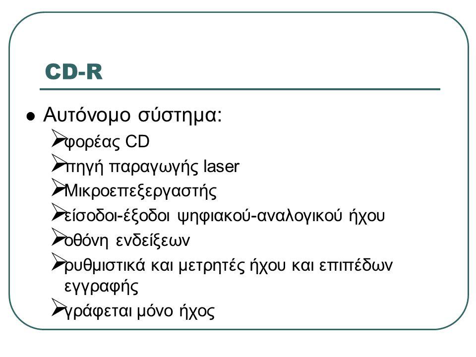 CD-R  Αυτόνομο σύστημα:  φορέας CD  πηγή παραγωγής laser  Μικροεπεξεργαστής  είσοδοι-έξοδοι ψηφιακού-αναλογικού ήχου  οθόνη ενδείξεων  ρυθμιστι