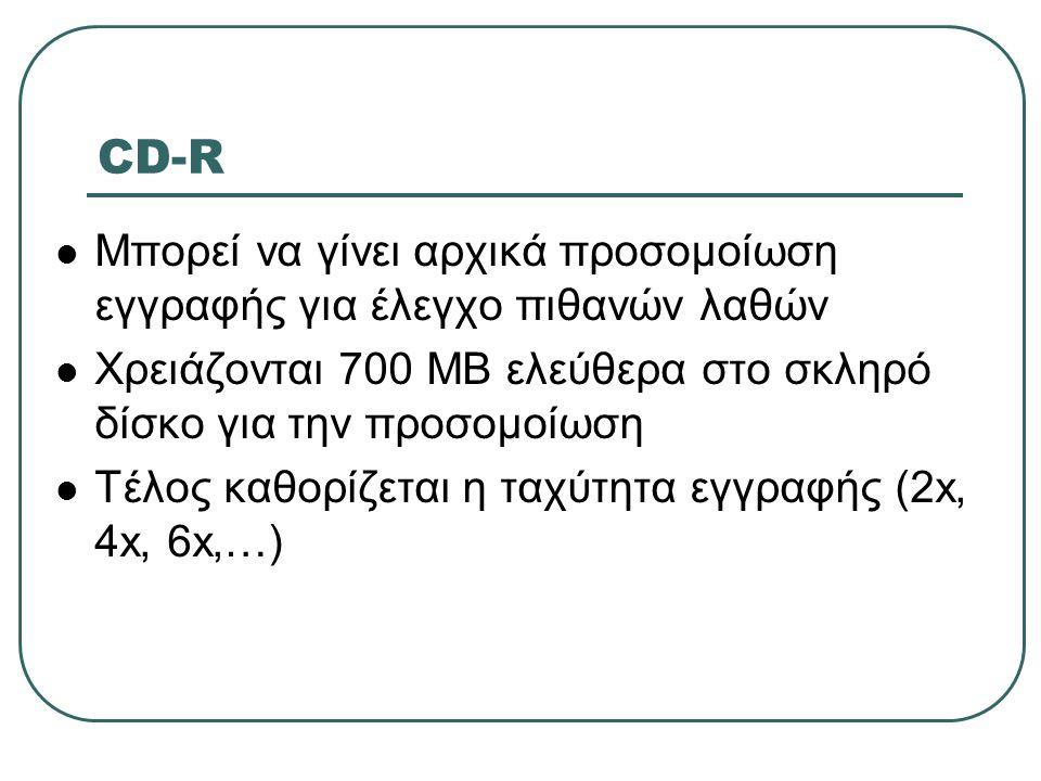 CD-R  Μπορεί να γίνει αρχικά προσομοίωση εγγραφής για έλεγχο πιθανών λαθών  Χρειάζονται 700 ΜΒ ελεύθερα στο σκληρό δίσκο για την προσομοίωση  Τέλος