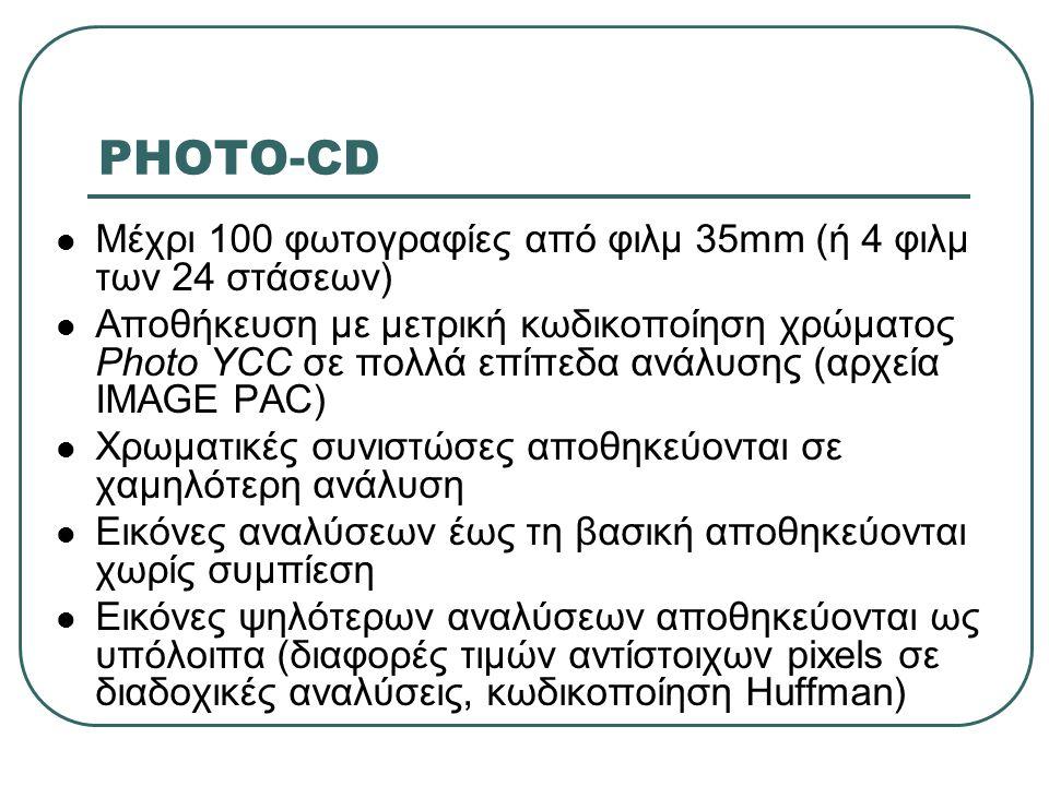 PHOTO-CD  Μέχρι 100 φωτογραφίες από φιλμ 35mm (ή 4 φιλμ των 24 στάσεων)  Αποθήκευση με μετρική κωδικοποίηση χρώματος Photo YCC σε πολλά επίπεδα ανάλ