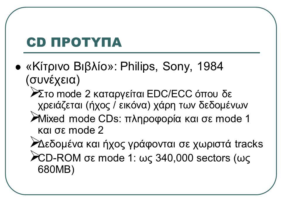 CD ΠΡΟΤΥΠΑ  High Sierra (ISO 9660): Philips, Sony, Microsoft 1985  Καθιέρωση κοινού format για δίσκο CD-ROM  Κάθε χρήστης με οποιοδήποτε drive και τον κατάλληλο οδηγό λογισμικού έχει πρόσβαση σε κάθε συμβατό δίσκο  Αποτέλεσμα: κάθε δίσκος αναγνωρίζεται (ασχέτως άλλων προβλημάτων)
