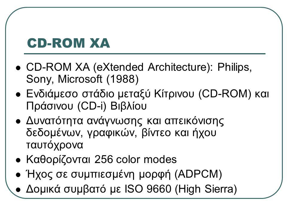 CD-ROM XA  CD-ROM XA (eXtended Architecture): Philips, Sony, Microsoft (1988)  Ενδιάμεσο στάδιο μεταξύ Κίτρινου (CD-ROM) και Πράσινου (CD-i) Βιβλίου