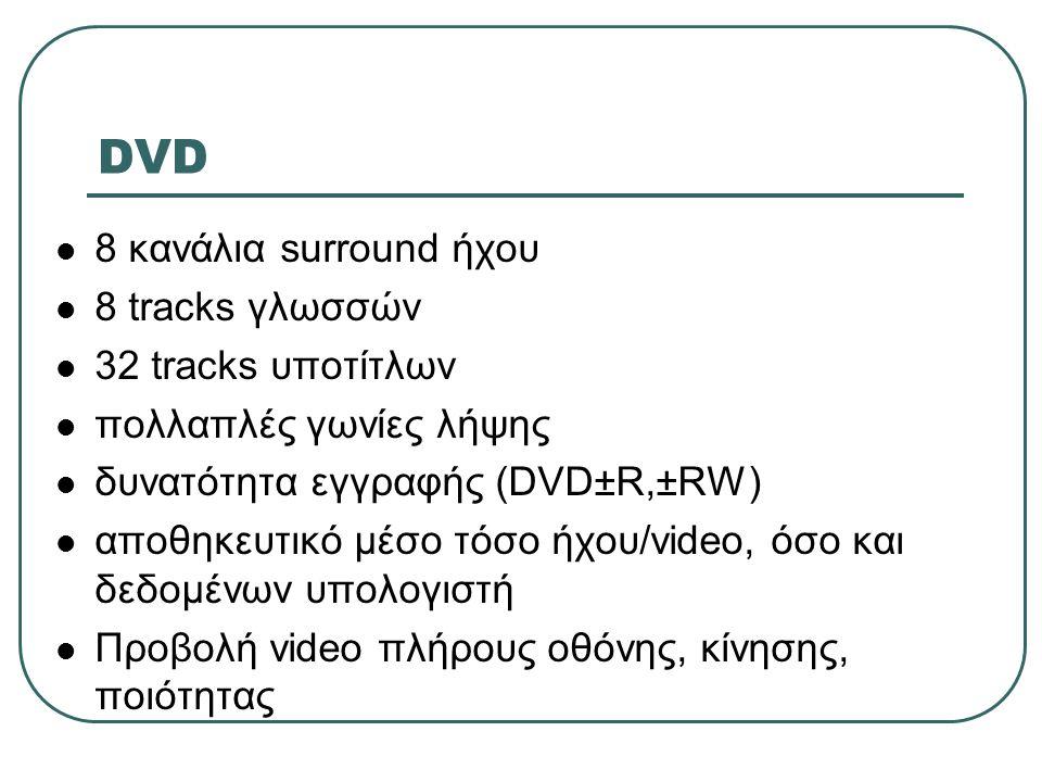 DVD  8 κανάλια surround ήχου  8 tracks γλωσσών  32 tracks υποτίτλων  πολλαπλές γωνίες λήψης  δυνατότητα εγγραφής (DVD±R,±RW)  αποθηκευτικό μέσο