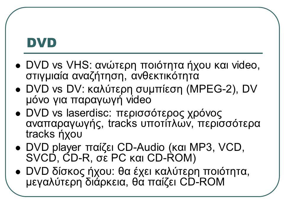 DVD  DVD vs VHS: ανώτερη ποιότητα ήχου και video, στιγμιαία αναζήτηση, ανθεκτικότητα  DVD vs DV: καλύτερη συμπίεση (MPEG-2), DV μόνο για παραγωγή vi