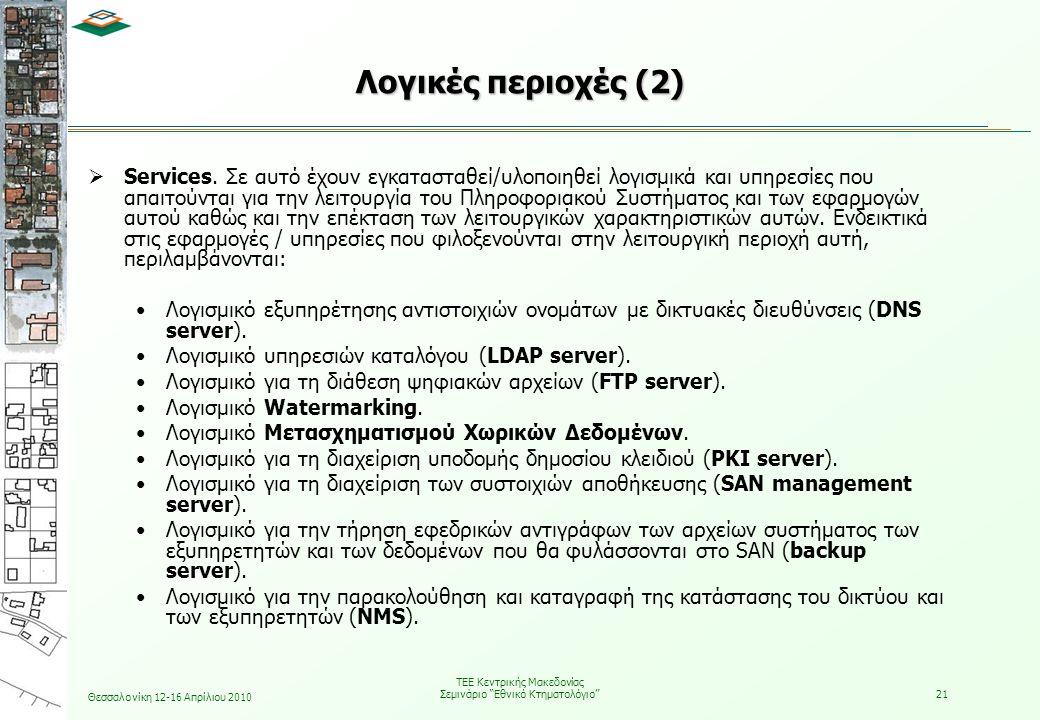 Θεσσαλονίκη 12-16 Απρίλιου 2010 ΤΕΕ Κεντρικής Μακεδονίας Σεμινάριο Εθνικό Κτηματολόγιο 21  Services.