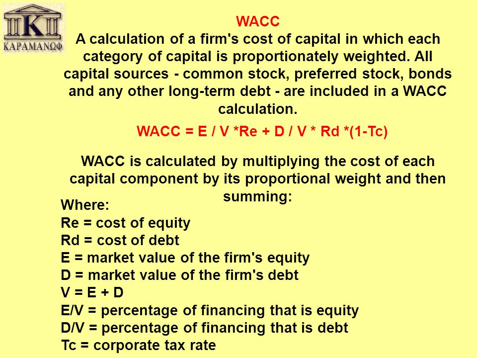 WACC A calculation of a firm s cost of capital in which each category of capital is proportionately weighted.