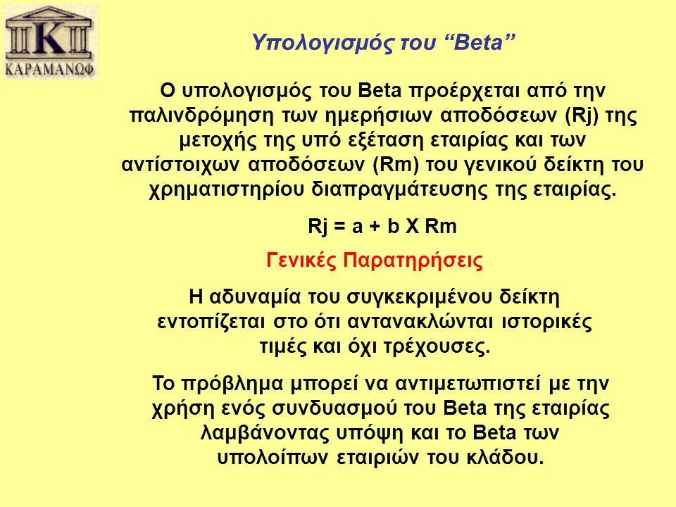 """Υπολογισμός του """"Beta"""" Ο υπολογισμός του Beta προέρχεται από την παλινδρόμηση των ημερήσιων αποδόσεων (Rj) της μετοχής της υπό εξέταση εταιρίας και τω"""