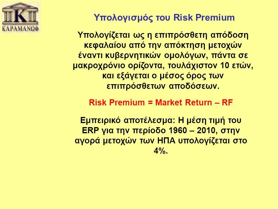 Υπολογισμός του Risk Premium Υπολογίζεται ως η επιπρόσθετη απόδοση κεφαλαίου από την απόκτηση μετοχών έναντι κυβερνητικών ομολόγων, πάντα σε μακροχρόν