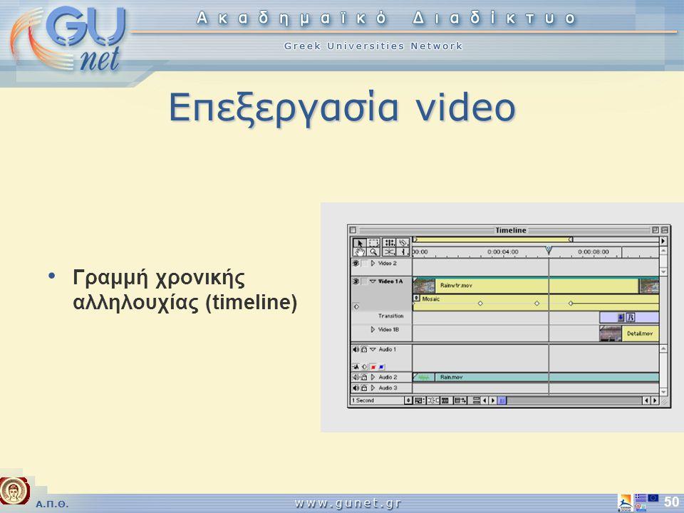 Α.Π.Θ. 50 Επεξεργασία video • Γραμμή χρονικής αλληλουχίας (timeline)
