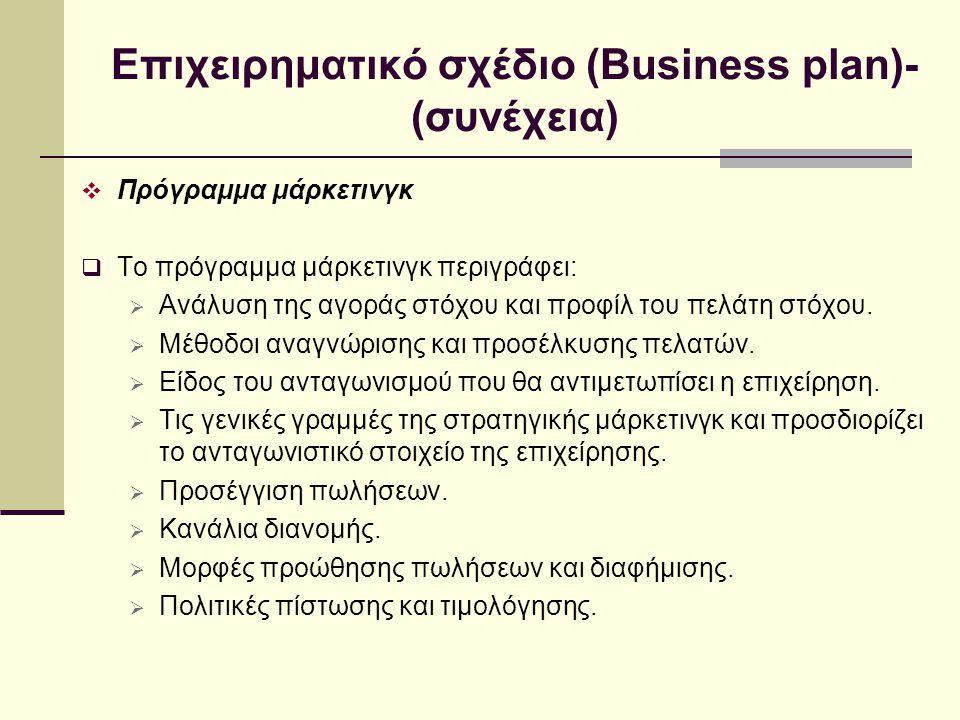 Επιχειρηματικό σχέδιο (Business plan)- (συνέχεια)  Πρόγραμμα μάρκετινγκ  Το πρόγραμμα μάρκετινγκ περιγράφει:  Ανάλυση της αγοράς στόχου και προφίλ του πελάτη στόχου.