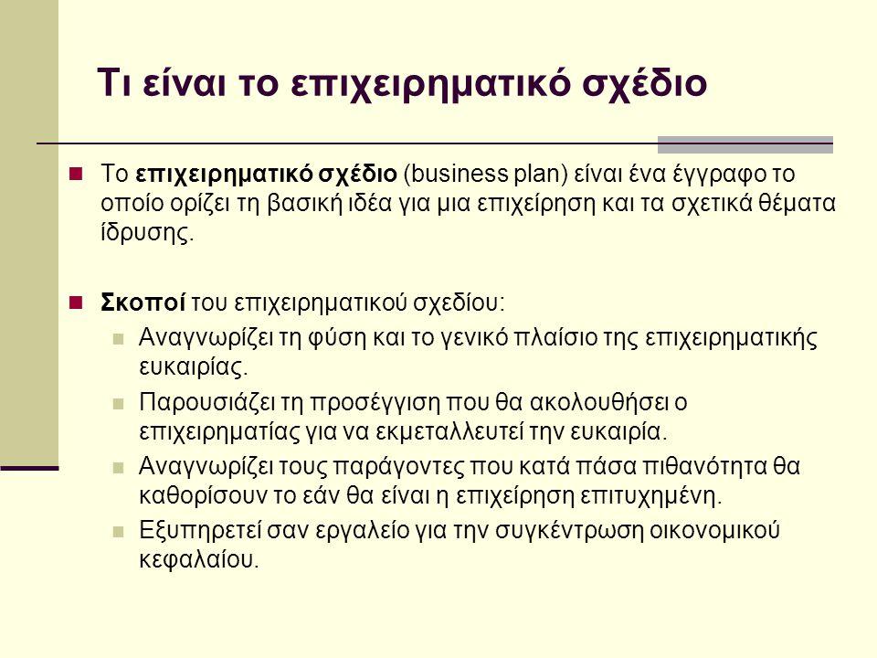 Τι είναι το επιχειρηματικό σχέδιο  Το επιχειρηματικό σχέδιο (business plan) είναι ένα έγγραφο το οποίο ορίζει τη βασική ιδέα για μια επιχείρηση και τα σχετικά θέματα ίδρυσης.