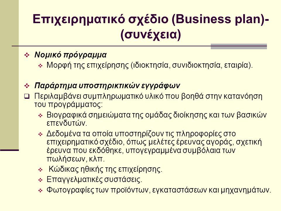 Επιχειρηματικό σχέδιο (Business plan)- (συνέχεια)  Νομικό πρόγραμμα  Μορφή της επιχείρησης (ιδιοκτησία, συνιδιοκτησία, εταιρία).