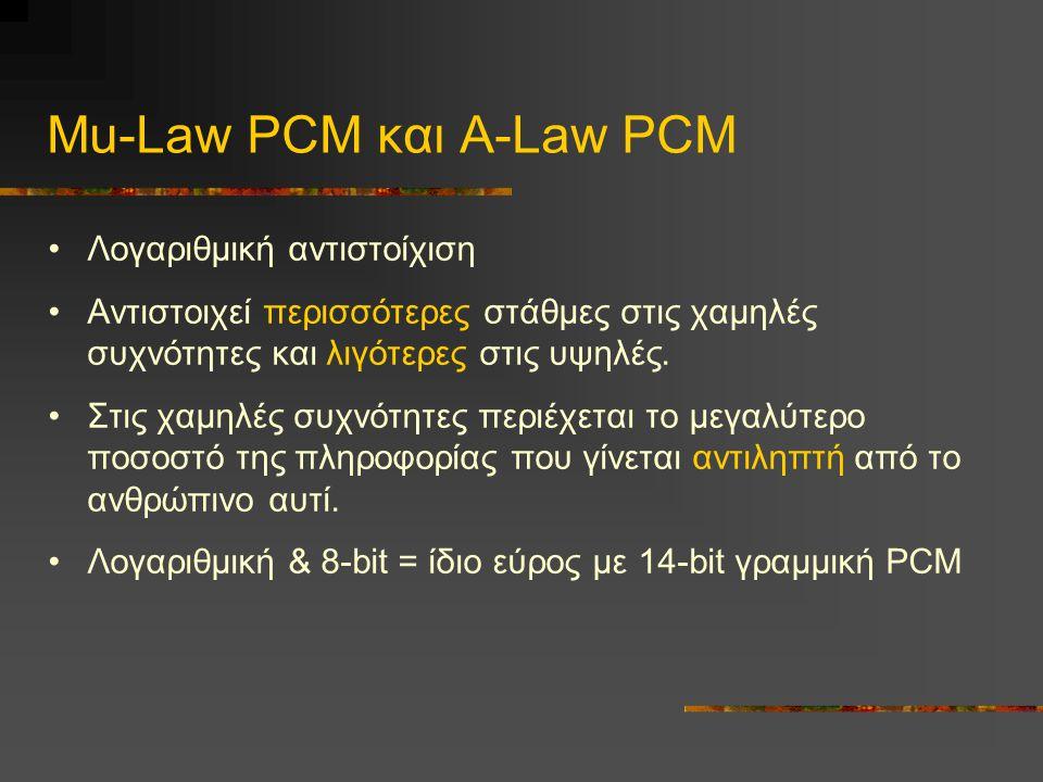 Mu-Law PCM και Α-Law PCM •Λογαριθμική αντιστοίχιση •Αντιστοιχεί περισσότερες στάθμες στις χαμηλές συχνότητες και λιγότερες στις υψηλές.
