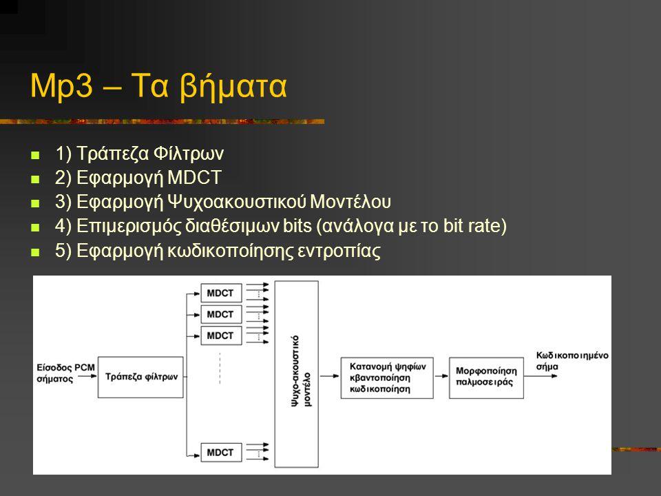 Mp3 – Τα βήματα  1) Τράπεζα Φίλτρων  2) Εφαρμογή MDCT  3) Εφαρμογή Ψυχοακουστικού Μοντέλου  4) Επιμερισμός διαθέσιμων bits (ανάλογα με το bit rate)  5) Εφαρμογή κωδικοποίησης εντροπίας