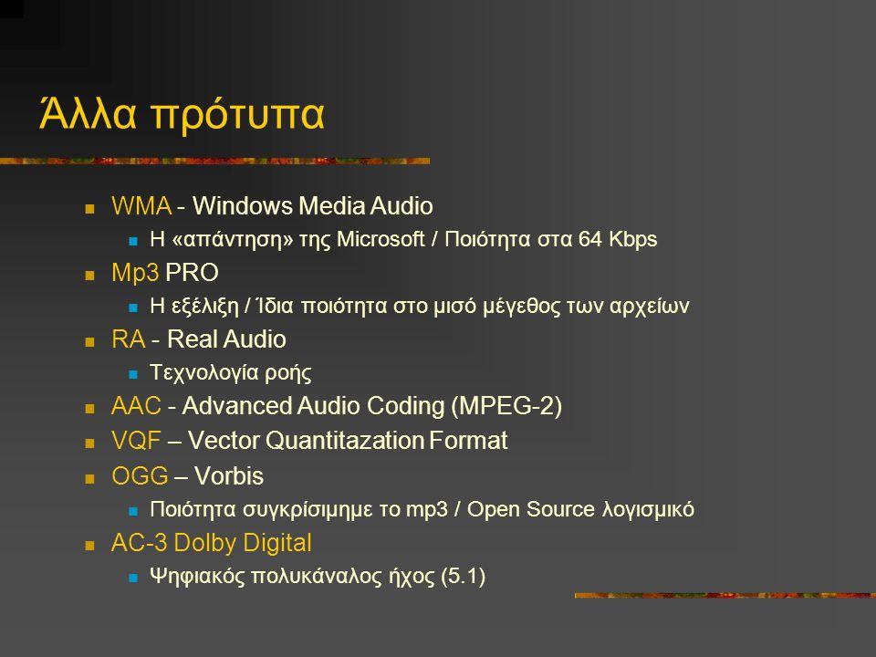Άλλα πρότυπα  WMA - Windows Media Audio  Η «απάντηση» της Microsoft / Ποιότητα στα 64 Kbps  Mp3 PRO  Η εξέλιξη / Ίδια ποιότητα στο μισό μέγεθος των αρχείων  RA - Real Audio  Τεχνολογία ροής  AAC - Advanced Audio Coding (MPEG-2)  VQF – Vector Quantitazation Format  OGG – Vorbis  Ποιότητα συγκρίσιμημε το mp3 / Open Source λογισμικό  AC-3 Dolby Digital  Ψηφιακός πολυκάναλος ήχος (5.1)