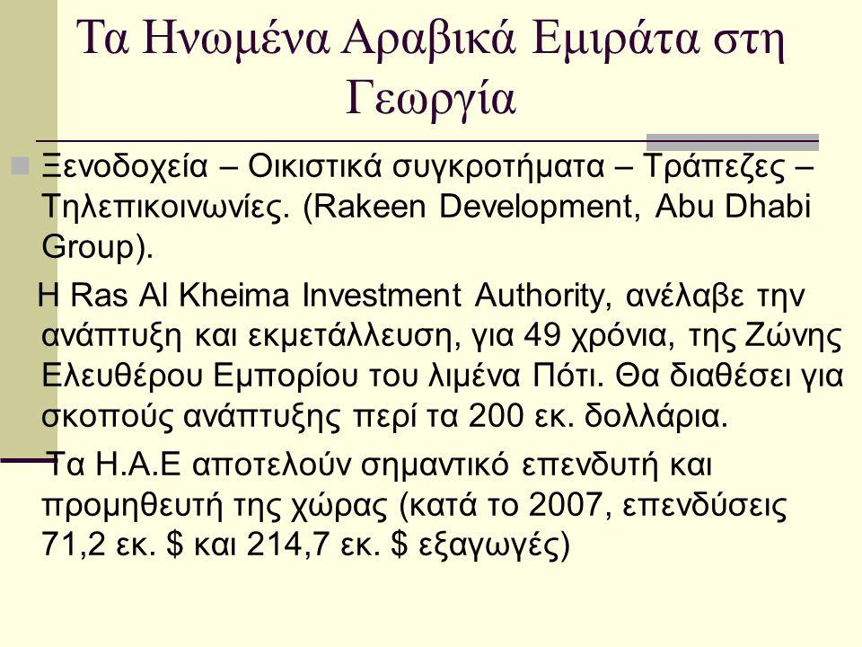  Ξενοδοχεία – Οικιστικά συγκροτήματα – Τράπεζες – Τηλεπικοινωνίες. (Rakeen Development, Abu Dhabi Group). Η Ras Al Kheima Investment Authority, ανέλα