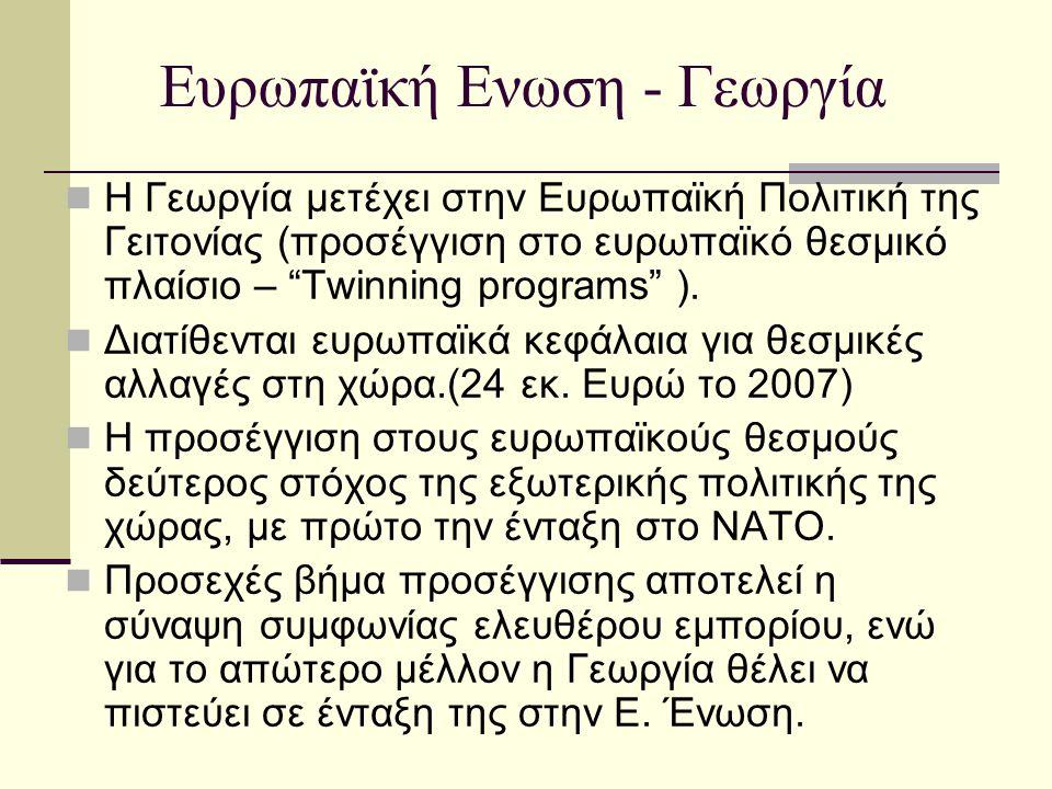 """Ευρωπαϊκή Ενωση - Γεωργία  Η Γεωργία μετέχει στην Ευρωπαϊκή Πολιτική της Γειτονίας (προσέγγιση στο ευρωπαϊκό θεσμικό πλαίσιο – """"Twinning programs"""" )."""