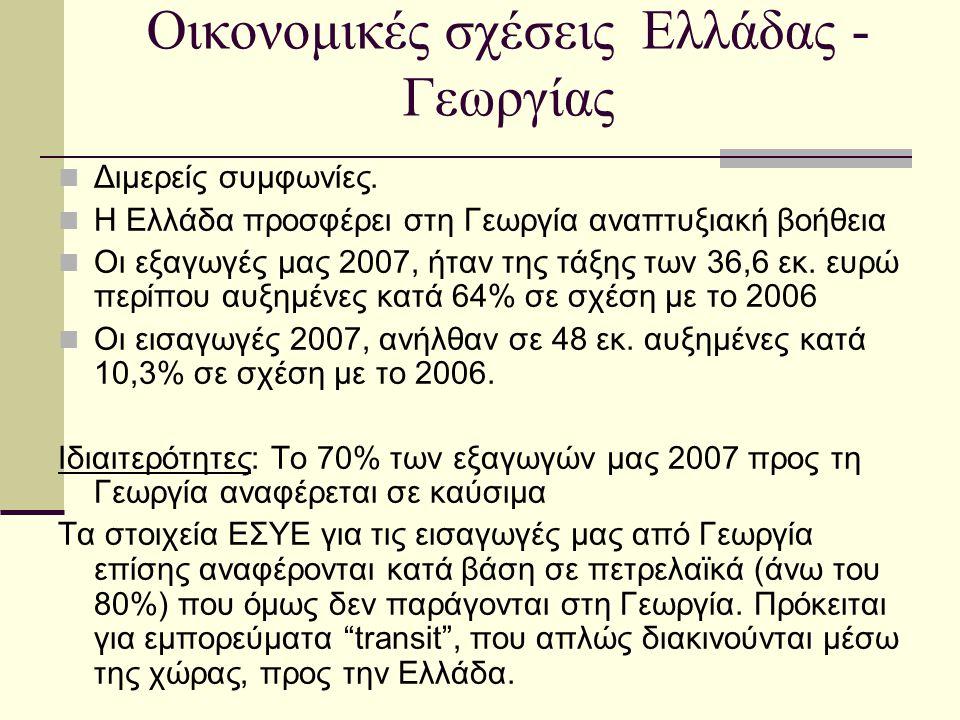 Οικονομικές σχέσεις Ελλάδας - Γεωργίας  Διμερείς συμφωνίες.  Η Ελλάδα προσφέρει στη Γεωργία αναπτυξιακή βοήθεια  Οι εξαγωγές μας 2007, ήταν της τάξ